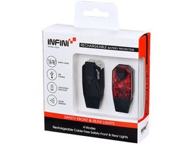Infini Mini-Lava twin pack micro USB front and rear lights black