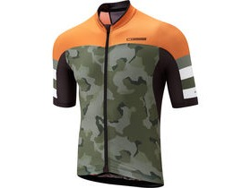 MADISON RoadRace Premio men's short sleeve jersey, olive camo / shocking orange