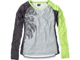MADISON Flux Enduro women's long sleeve jersey, silver grey / sharp green