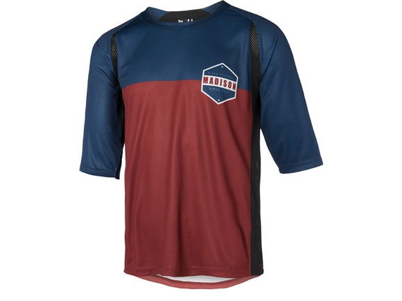 MADISON Alpine men's 3/4 sleeve jersey, ink navy/andorra red click to zoom image