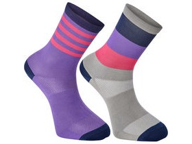 MADISON Sportive mid sock twin pack, block stripe silver grey/lavender