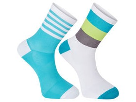 MADISON Sportive mid sock twin pack, block stripe white/peacock blue