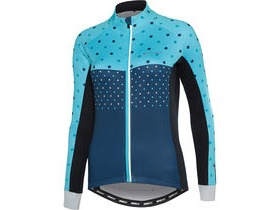 MADISON Sportive women's long sleeve thermal jersey, hex dots blue curaco